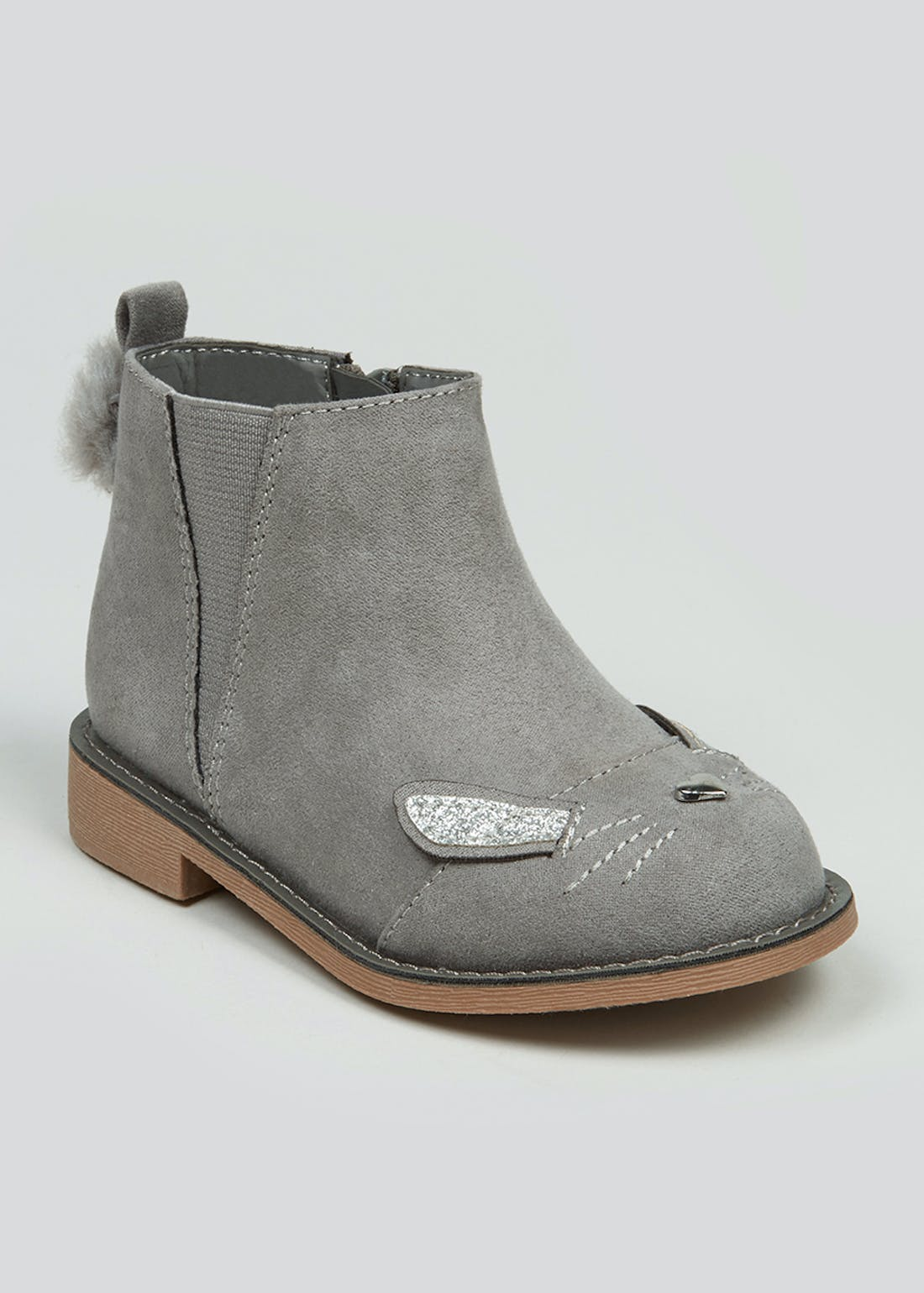 Girls Grey Bunny Boots (Younger 4-12)