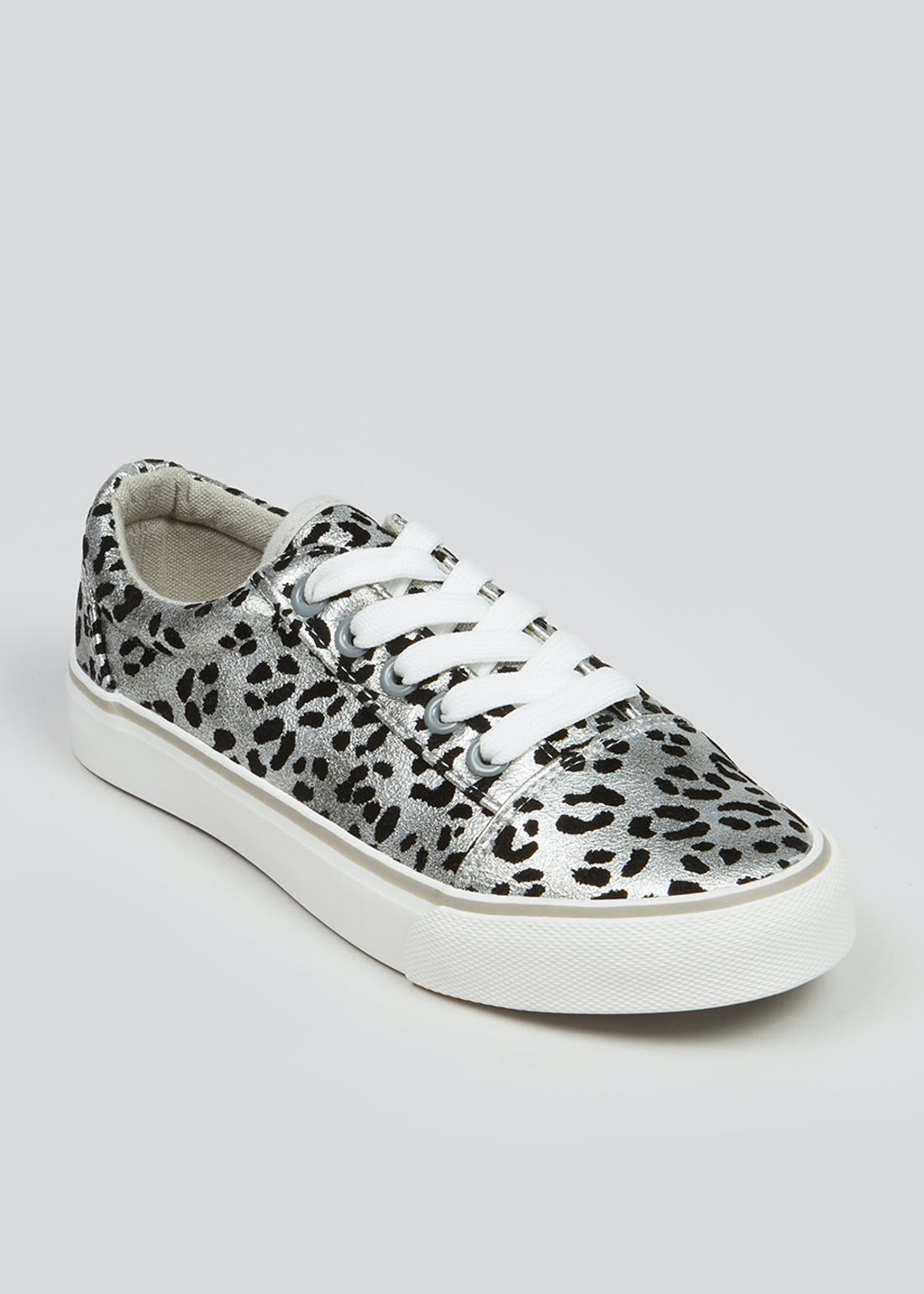 Girls Silver Leopard Print Trainers (Younger 10-Older 5)
