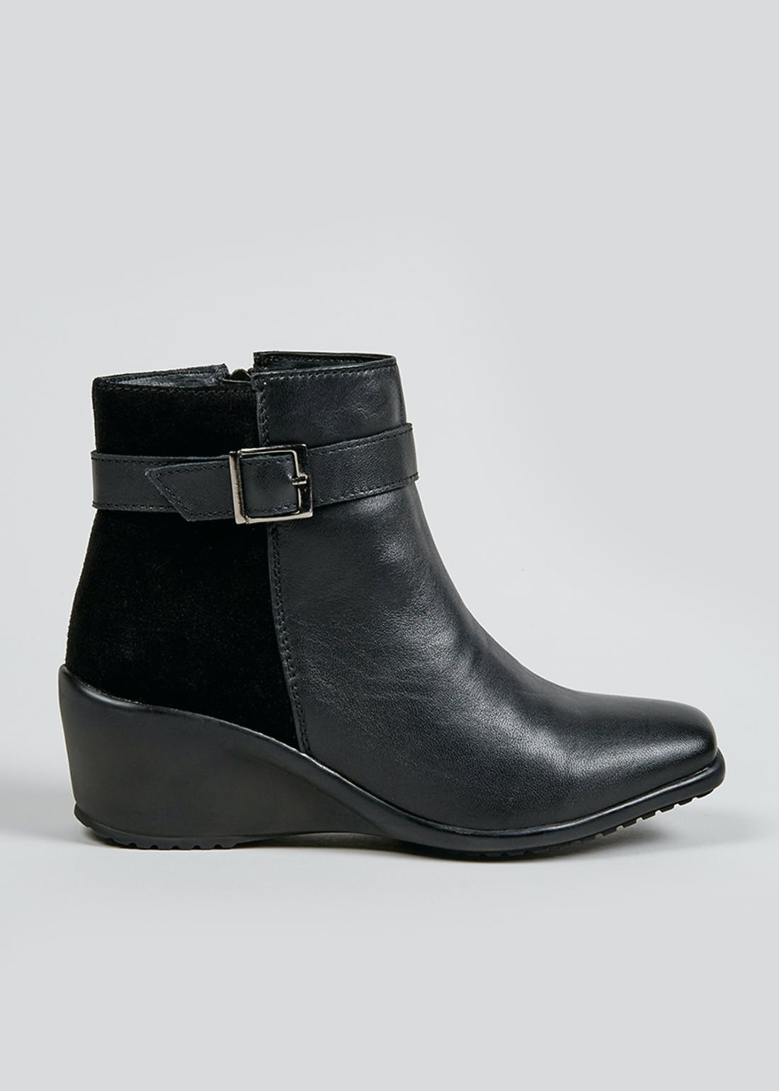 Soleflex Black Buckle Wedge Ankle Boots