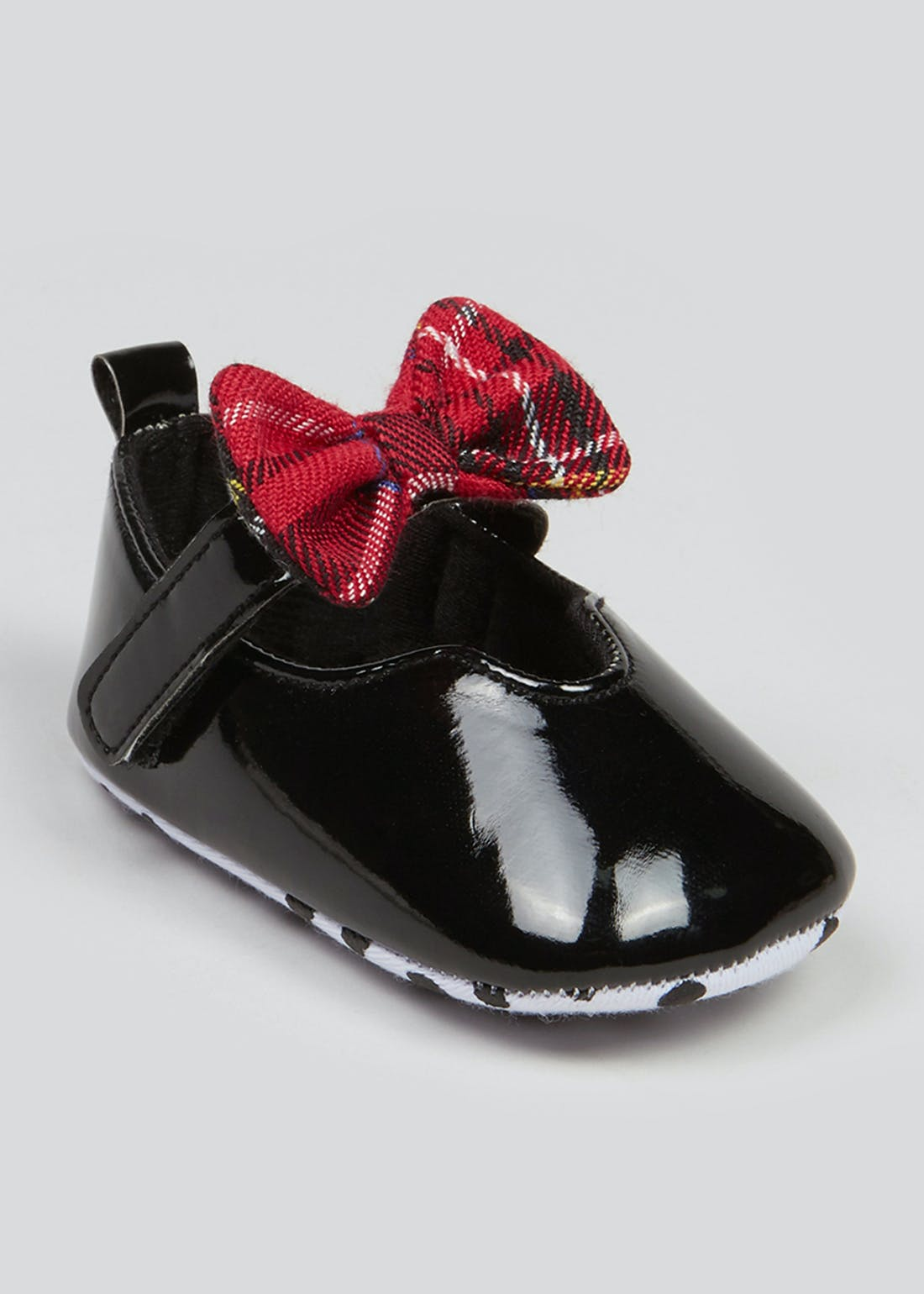 Girls Tartan Bow Baby Ballet Shoes (Newborn-18mths)
