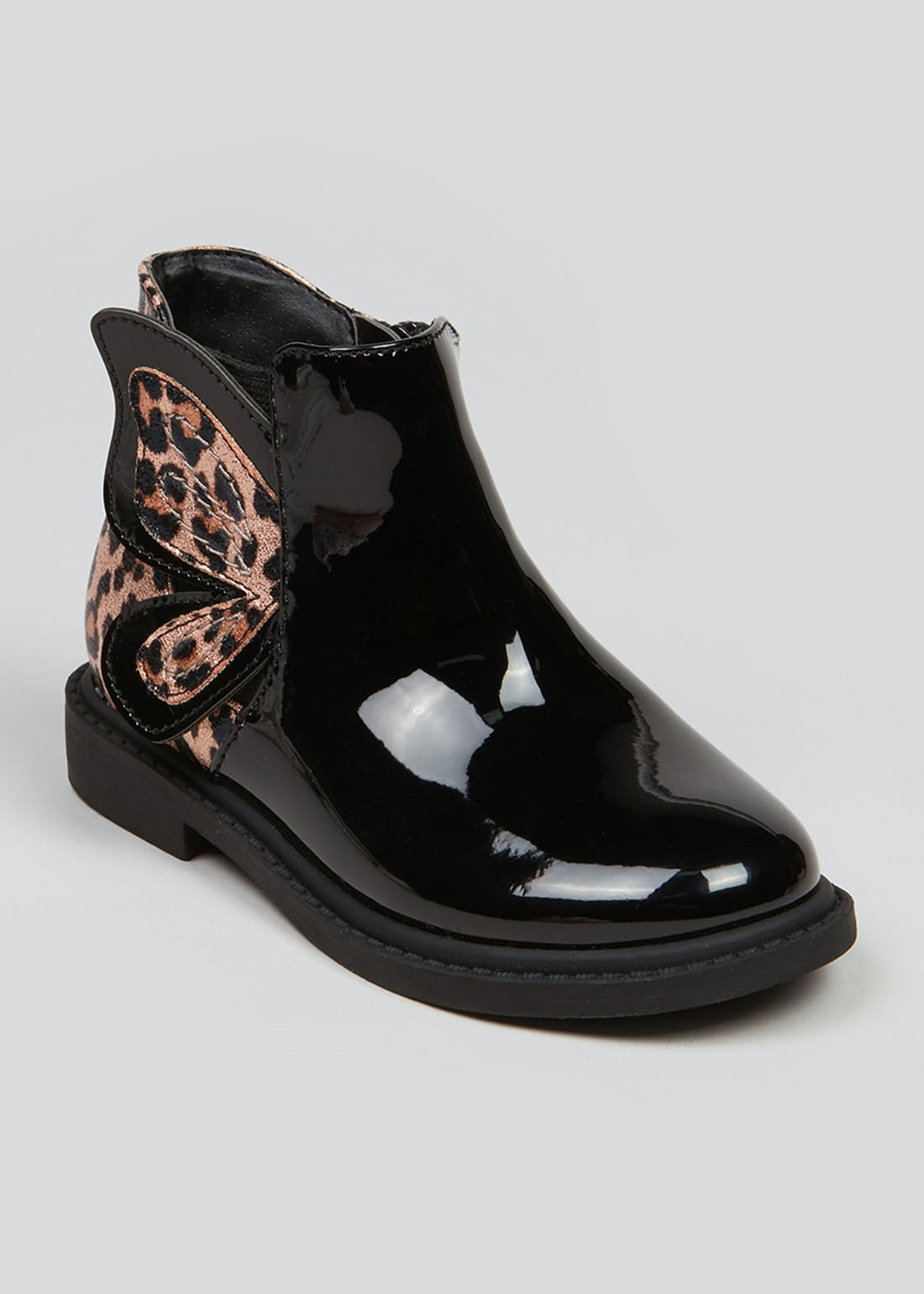 Girls Black Patent Butterfly Ankle Boots (Younger 4-12)