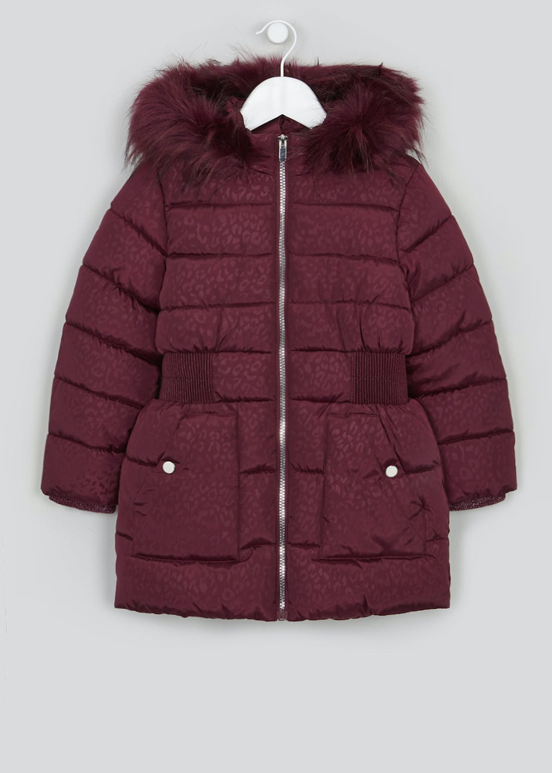 Girls Berry Leopard Print Padded Coat (4-13yrs)