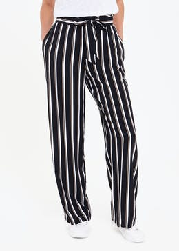 Stripe Wide Leg Tie Waist Trousers