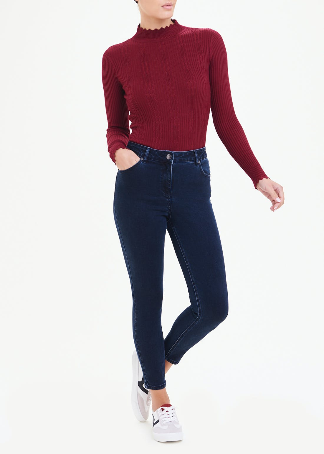 Scallop High Neck Jumper
