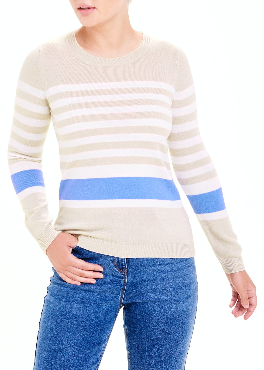 Papaya Classic Stripe Round Neck Jumper