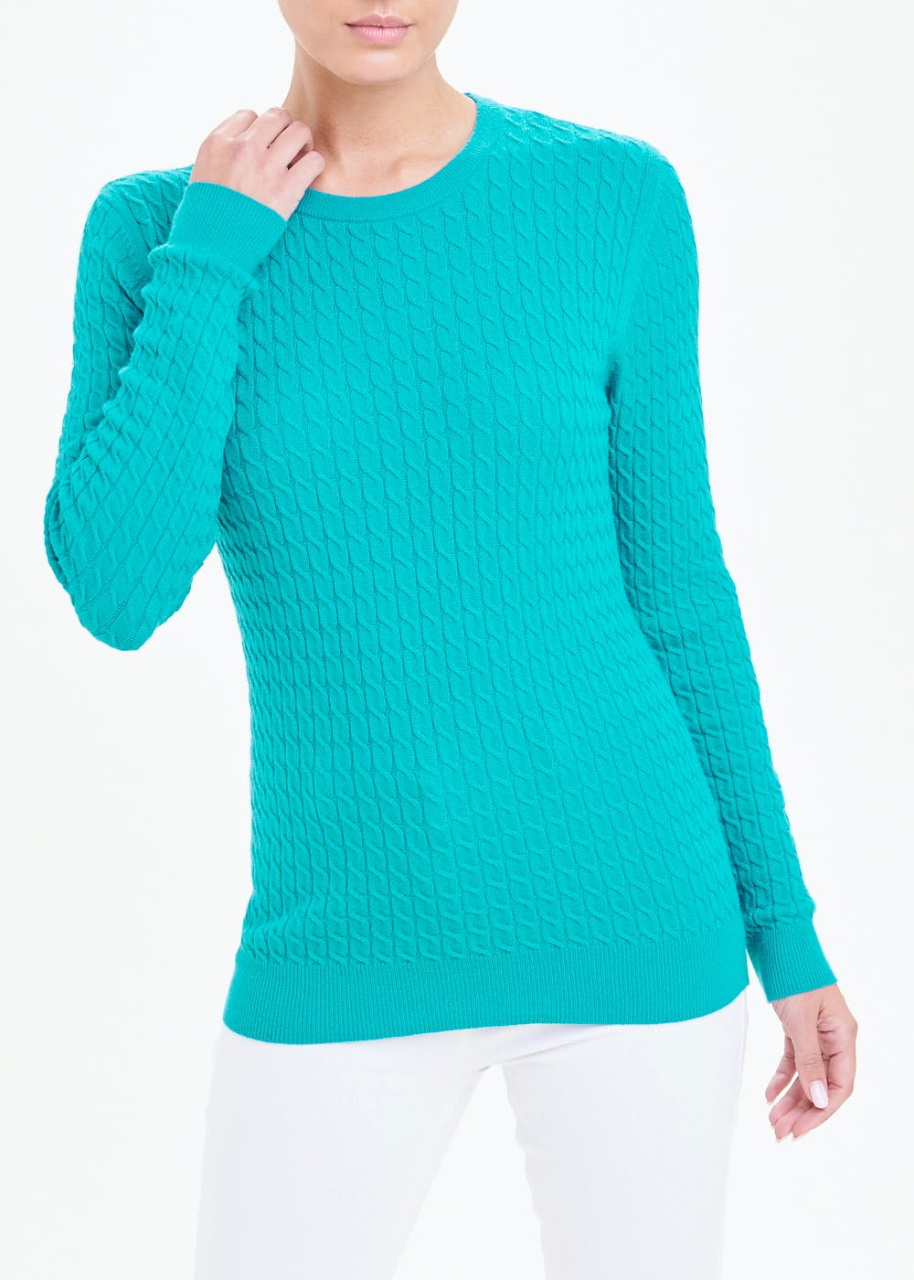 Cable Knit Jumper – Teal