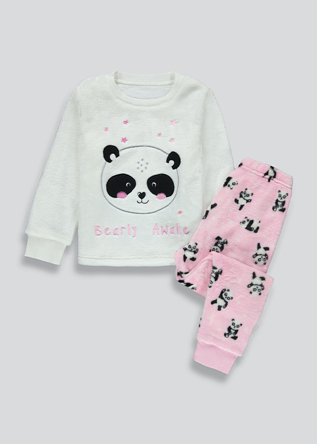 Girls Panda Fleece Pyjama Set (12mths-5yrs)