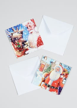 16 Pack Santa Christmas Cards (13cm x 13cm)