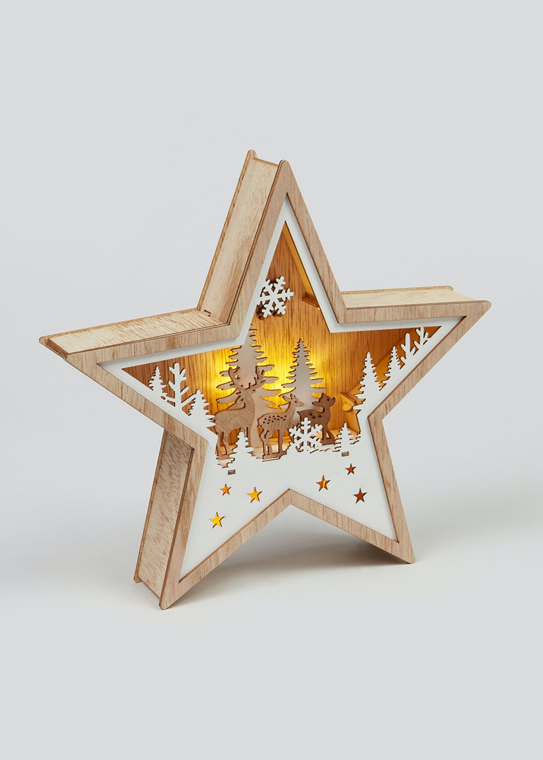 LED Christmas Cut Out Wooden Star