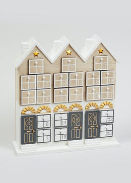 Light-Up Wooden House Advent Calendar (32cm x 29cm)
