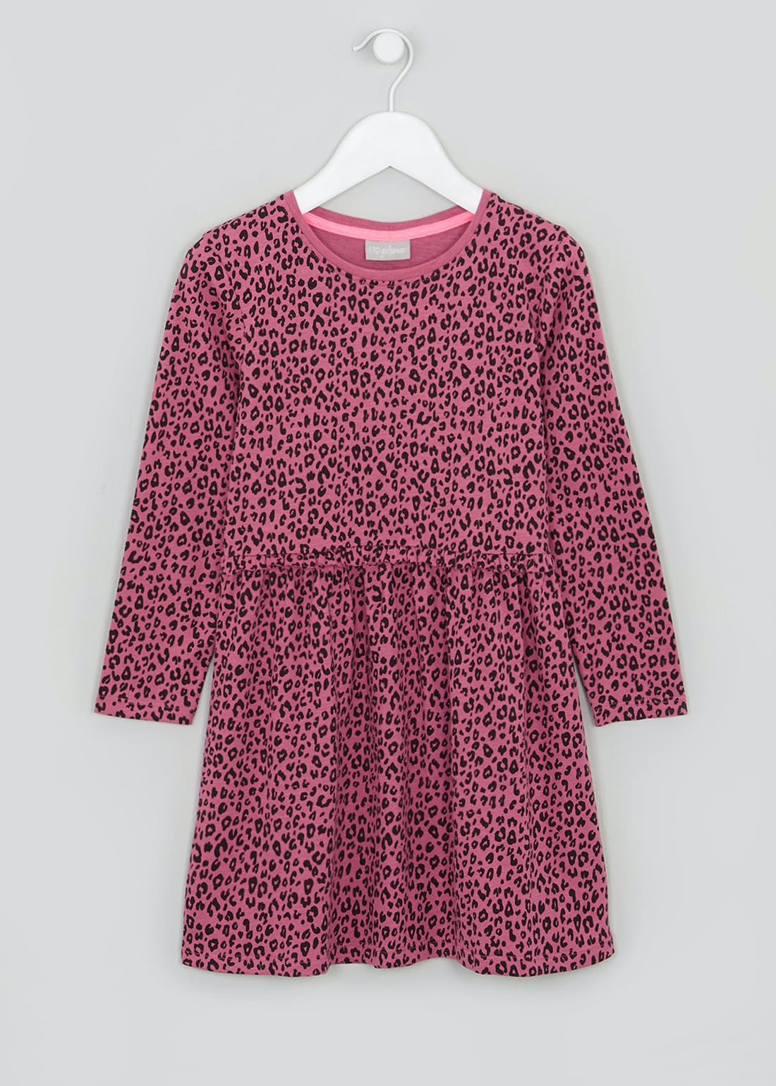Girls Pink Long Sleeve Leopard Print Jersey Dress (4-13yrs)