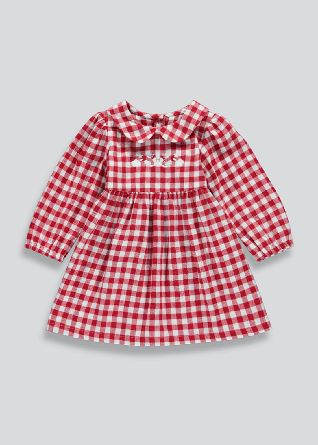 Girls Red Check Long Sleeve Dress (9mths-6yrs)