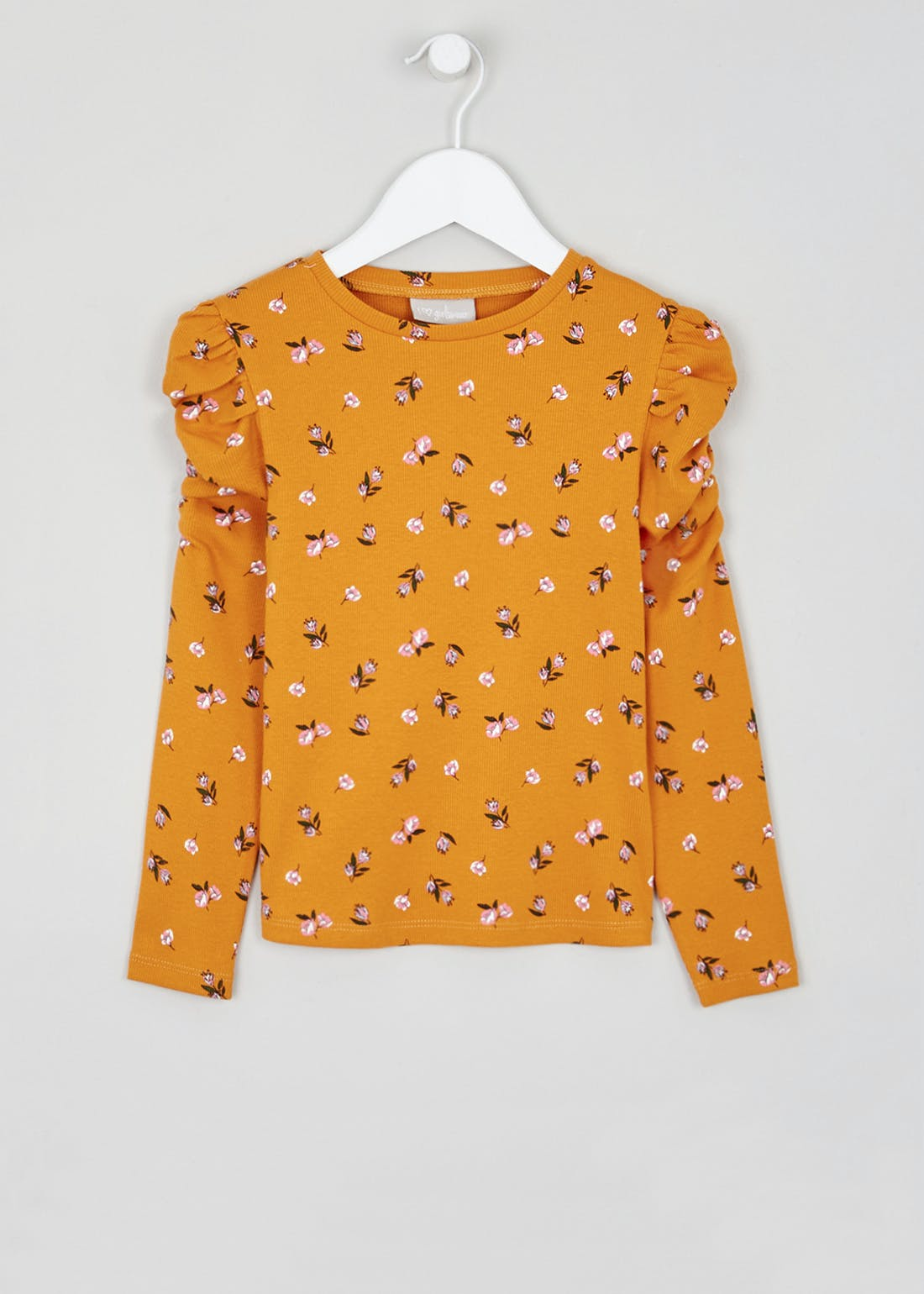 Girls Long Sleeve Ribbed Floral Top (4-13yrs)