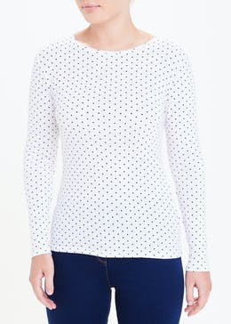 Perfect Long Sleeve Spot Print T-Shirt