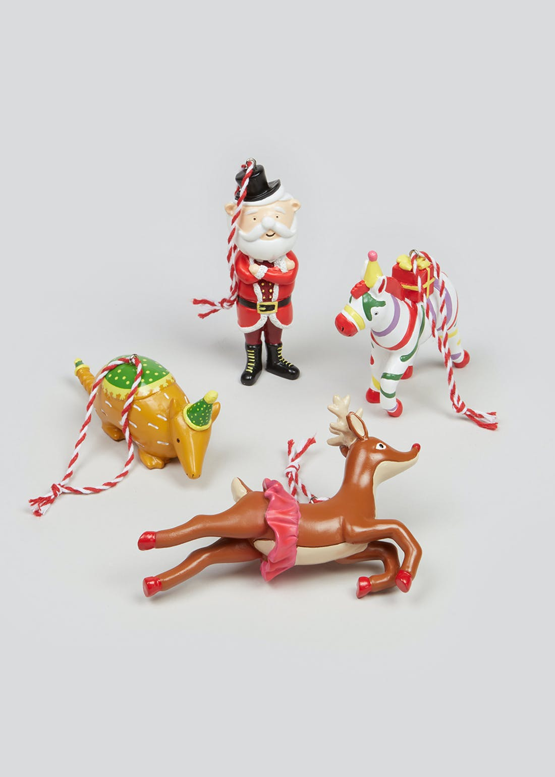 4 Pack Carnival Animal Christmas Decorations
