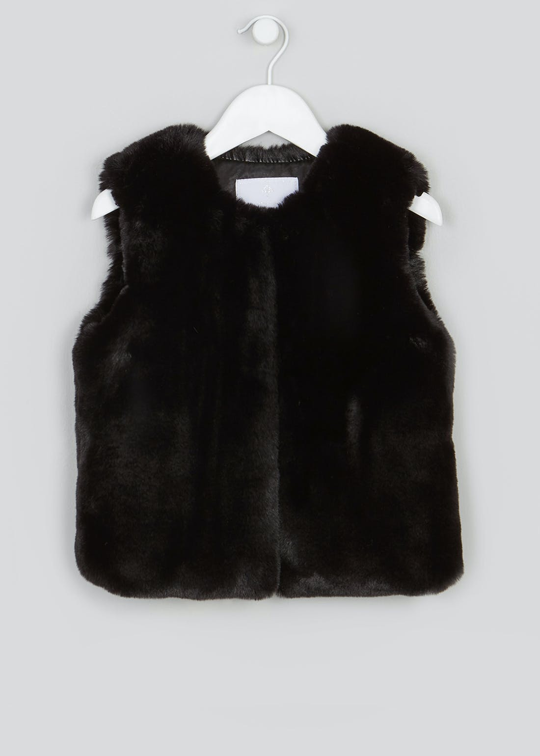 Girls Black Faux Fur Gilet (4-13yrs)