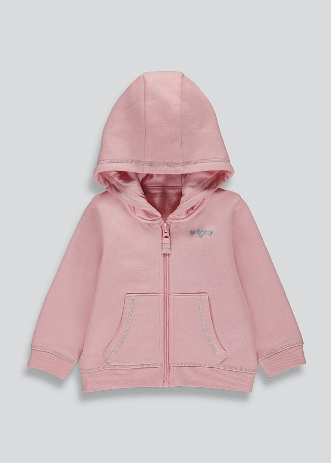 Girls Zip Up Heart Print Hoodie (9mths-6yrs)