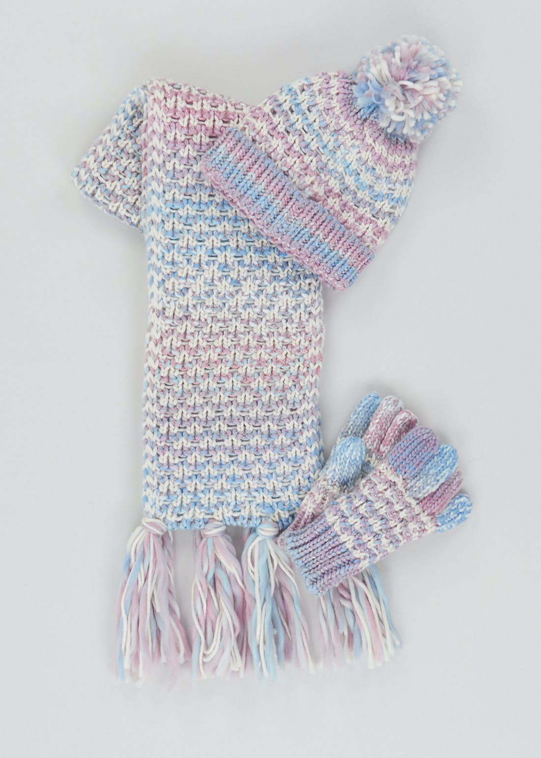 Girls Knitted Hat Scarf & Gloves Set (7-13yrs)