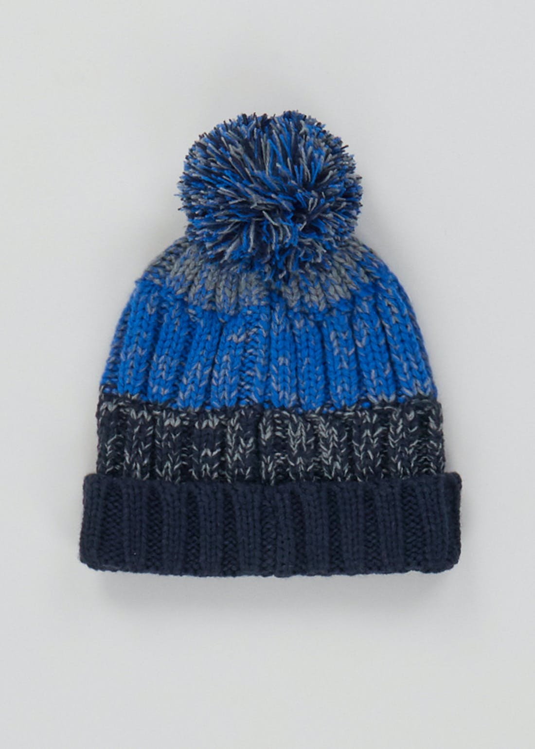 Boys Knitted Stripe Bobble Hat (3-13yrs)