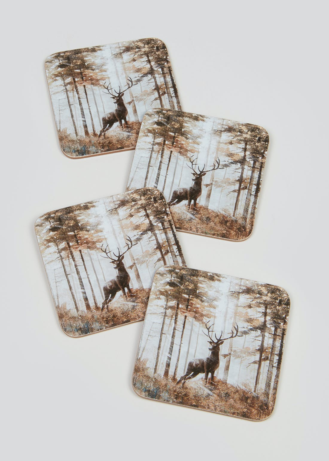 4 Pack Christmas Stag Cork Coasters (10.5cm x 10.5cm)
