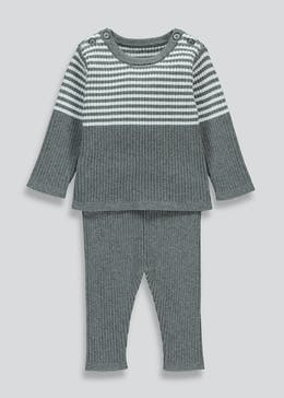 Unisex Knitted Stripe 2 Piece Set (Tiny Baby-23mths)