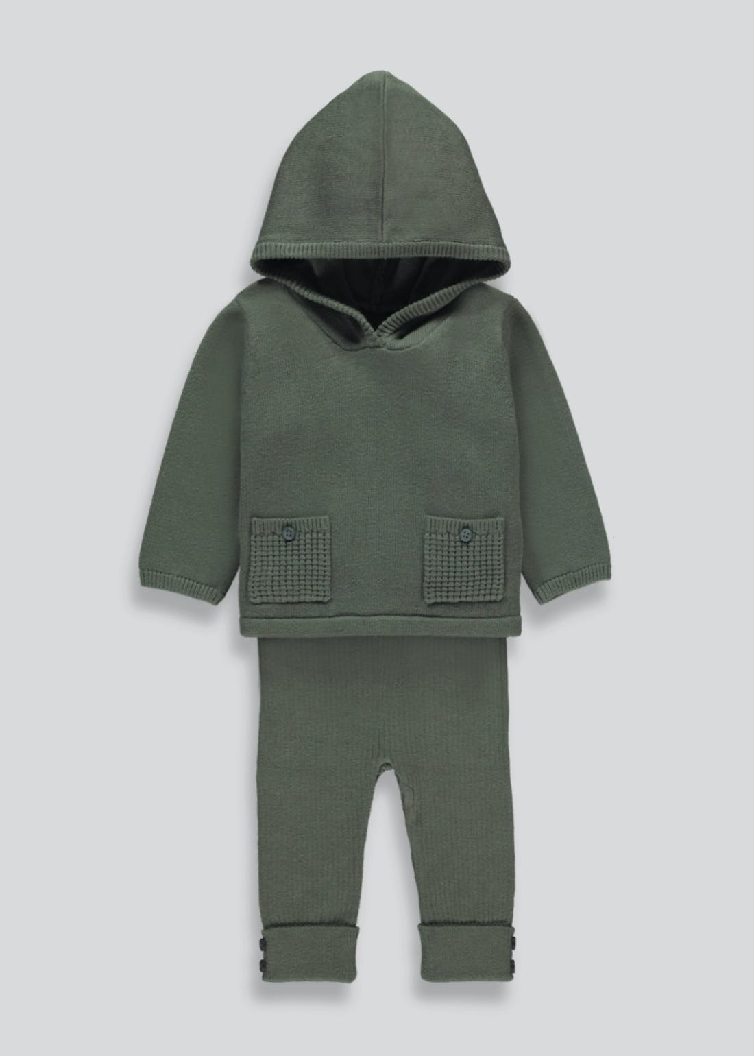 Boys Knitted Hooded Set (Tiny Baby-23mths)