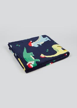 Kids Christmas Dinosaur Fleece Throw Blanket (150cm x 130cm)