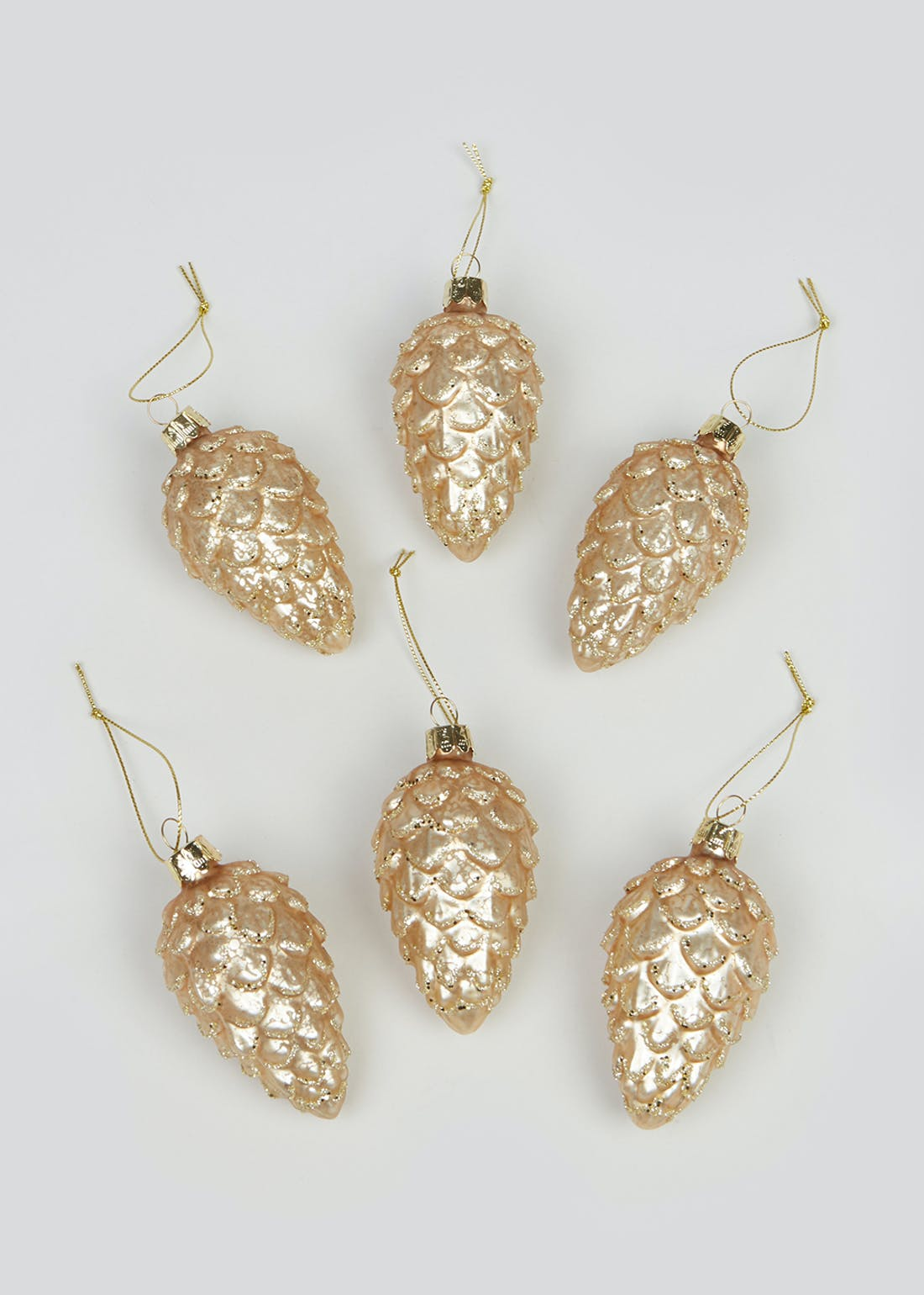 6 Pack Metallic Pinecone Christmas Baubles (8cm x 3cm)