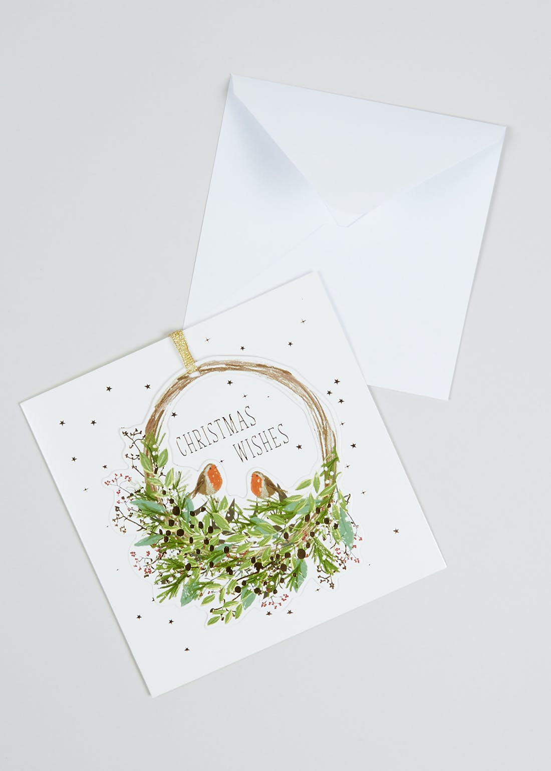 6 Pack Robin Wreath Christmas Cards (16cm x 16cm)