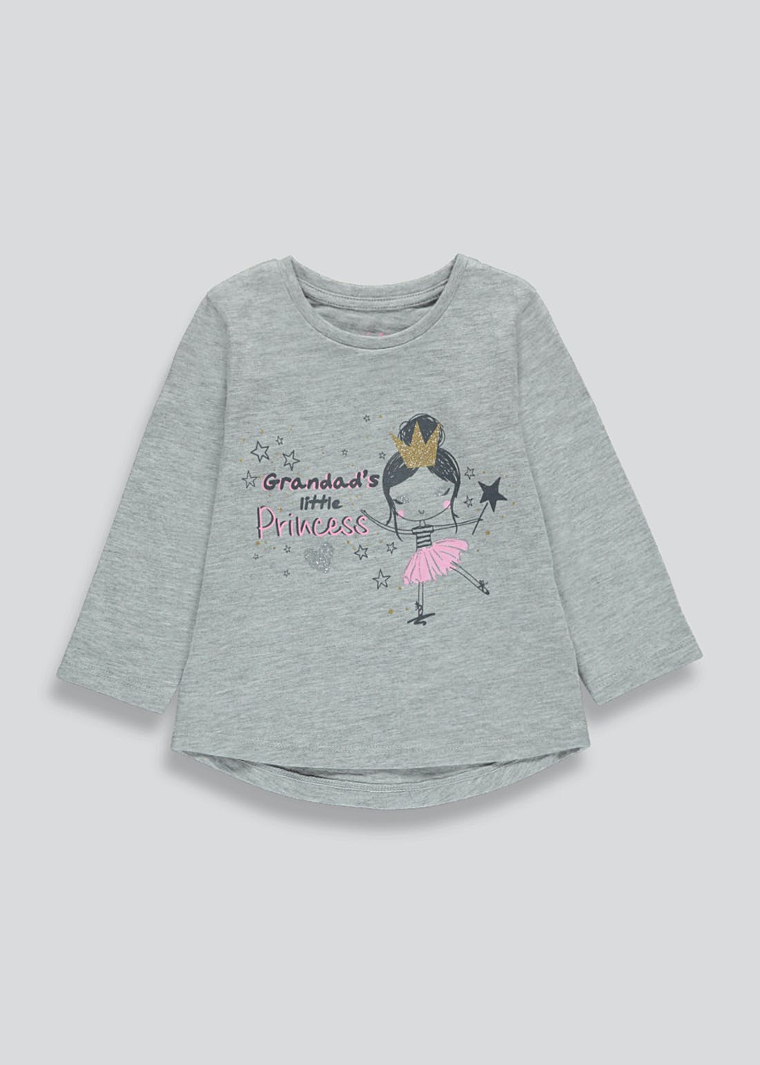 Girls Long Sleeve Grandad's Little Princess T-Shirt (9mths-6yrs)