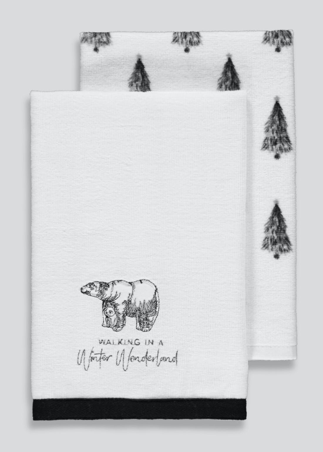 2 Pack Winter Wonderland Velour Tea Towels (60cm x 40cm)