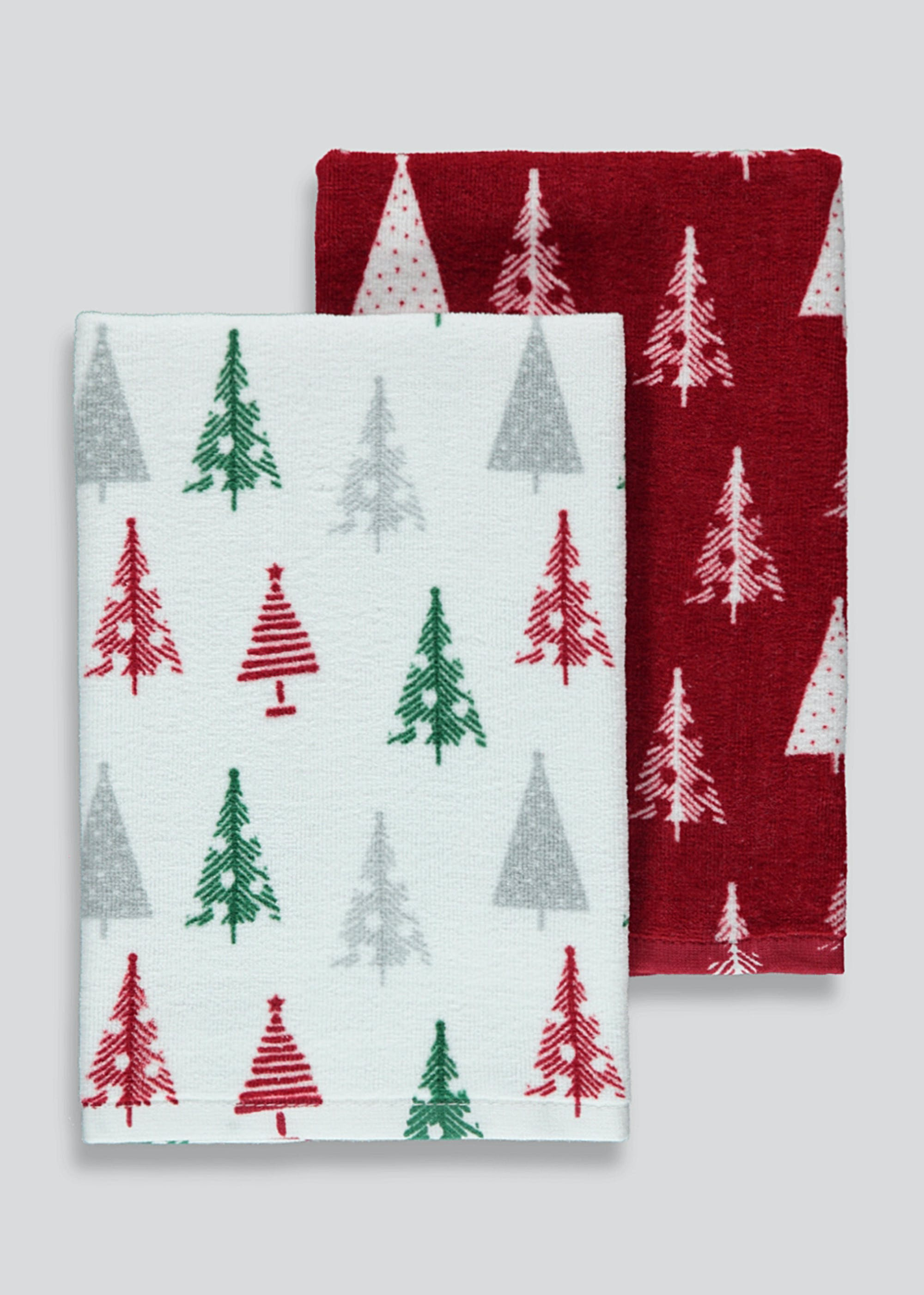 2 Pack Christmas Tree Velour Tea Towels 60cm X 40cm Multi Matalan