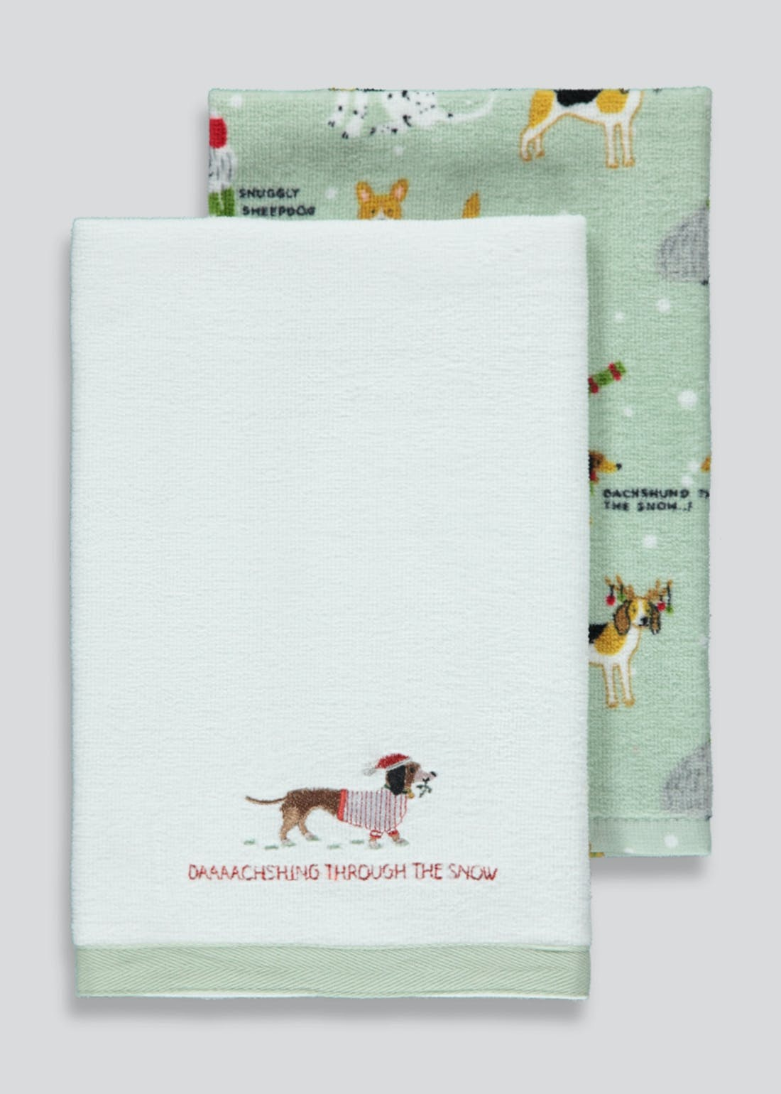 2 Pack Christmas Dog Velour Tea Towels (60cm x 40cm)