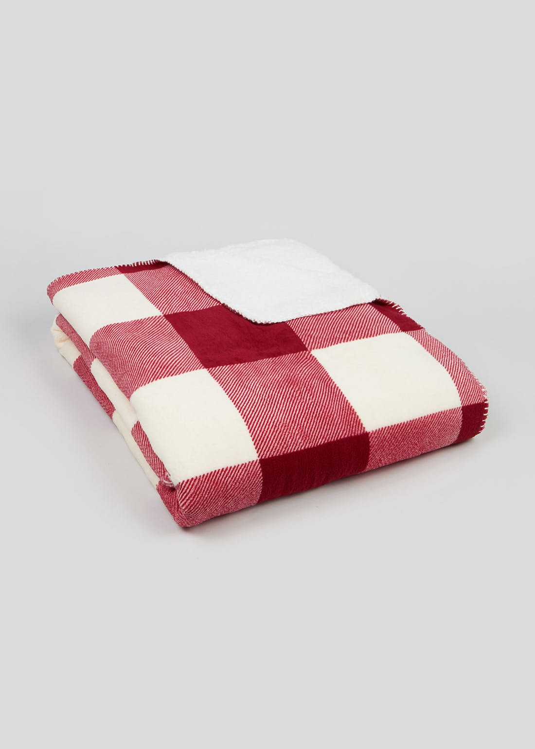 Check Fleece Back Throw Blanket (180cm x 150cm)
