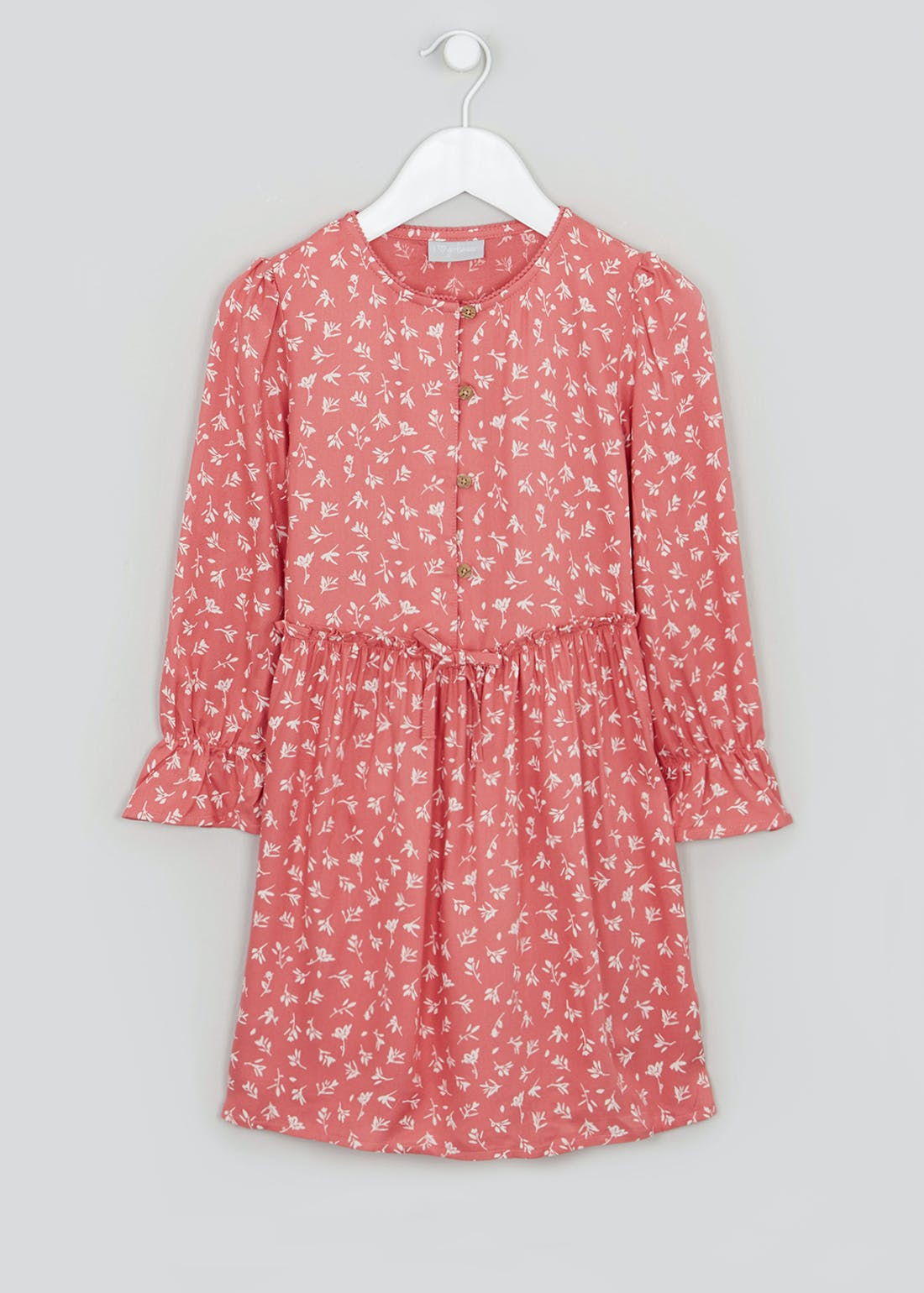 Girls Pink Long Sleeve Floral Dress (4-13yrs)
