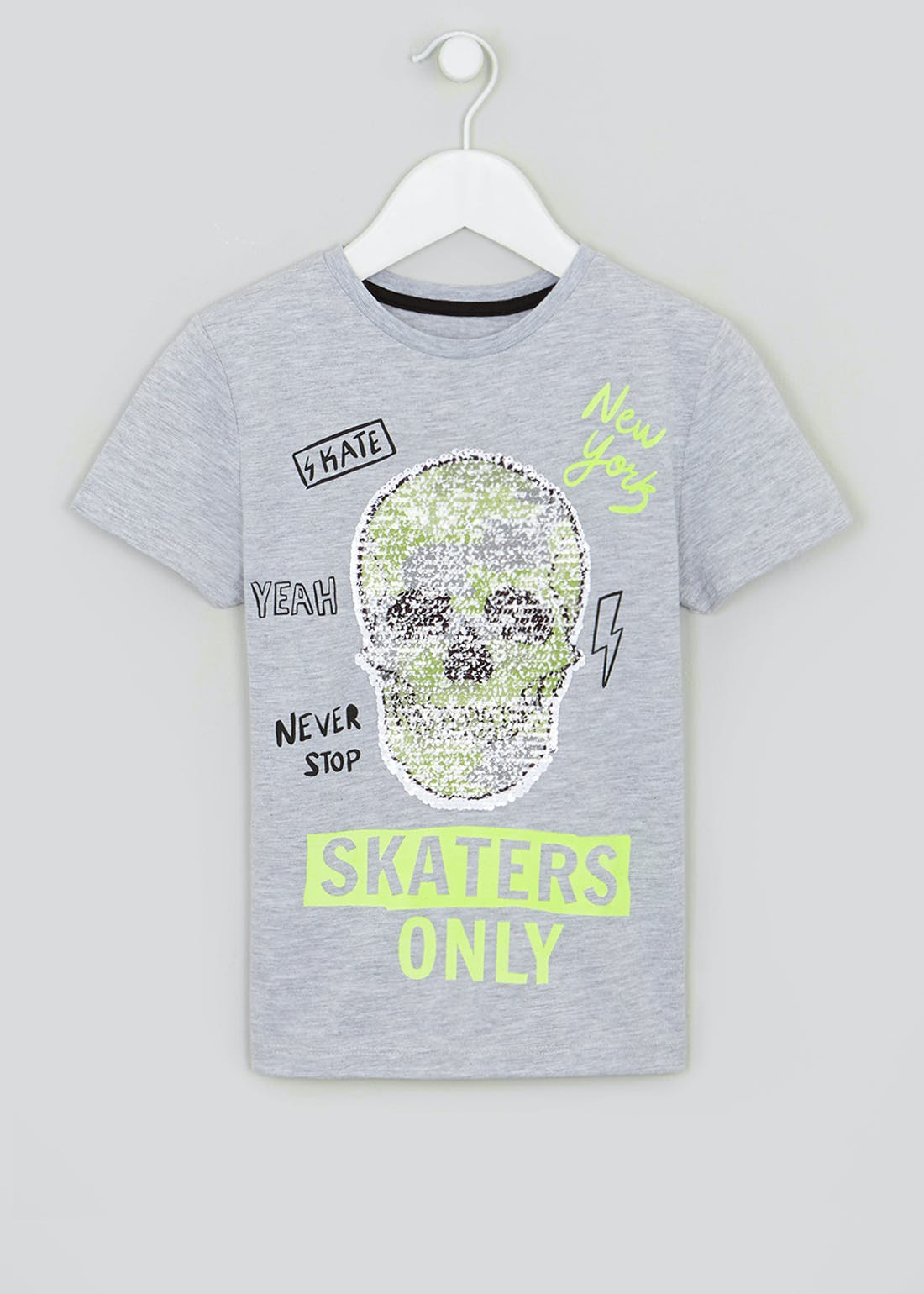 Boys Sequin Skull Slogan T-Shirt (4-13yrs)