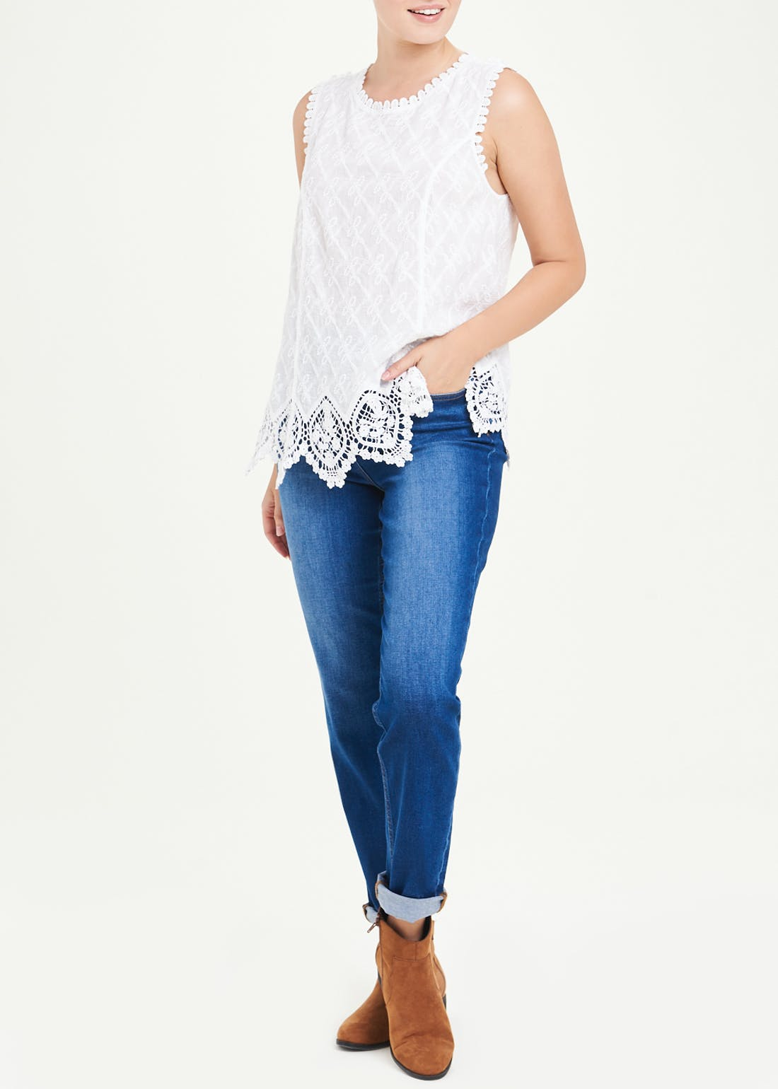 Falmer White Sleeveless Embroidered Lace Top