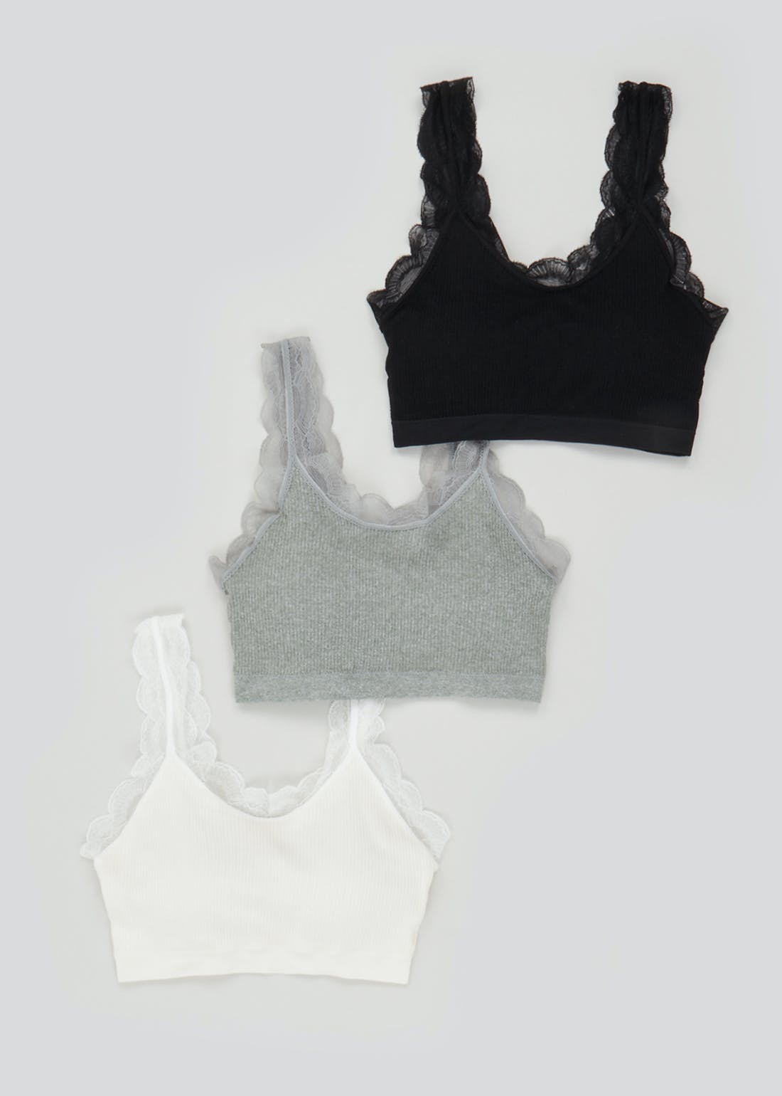 3 Pack Lace Trim Ribbed Seam Free Crop Tops
