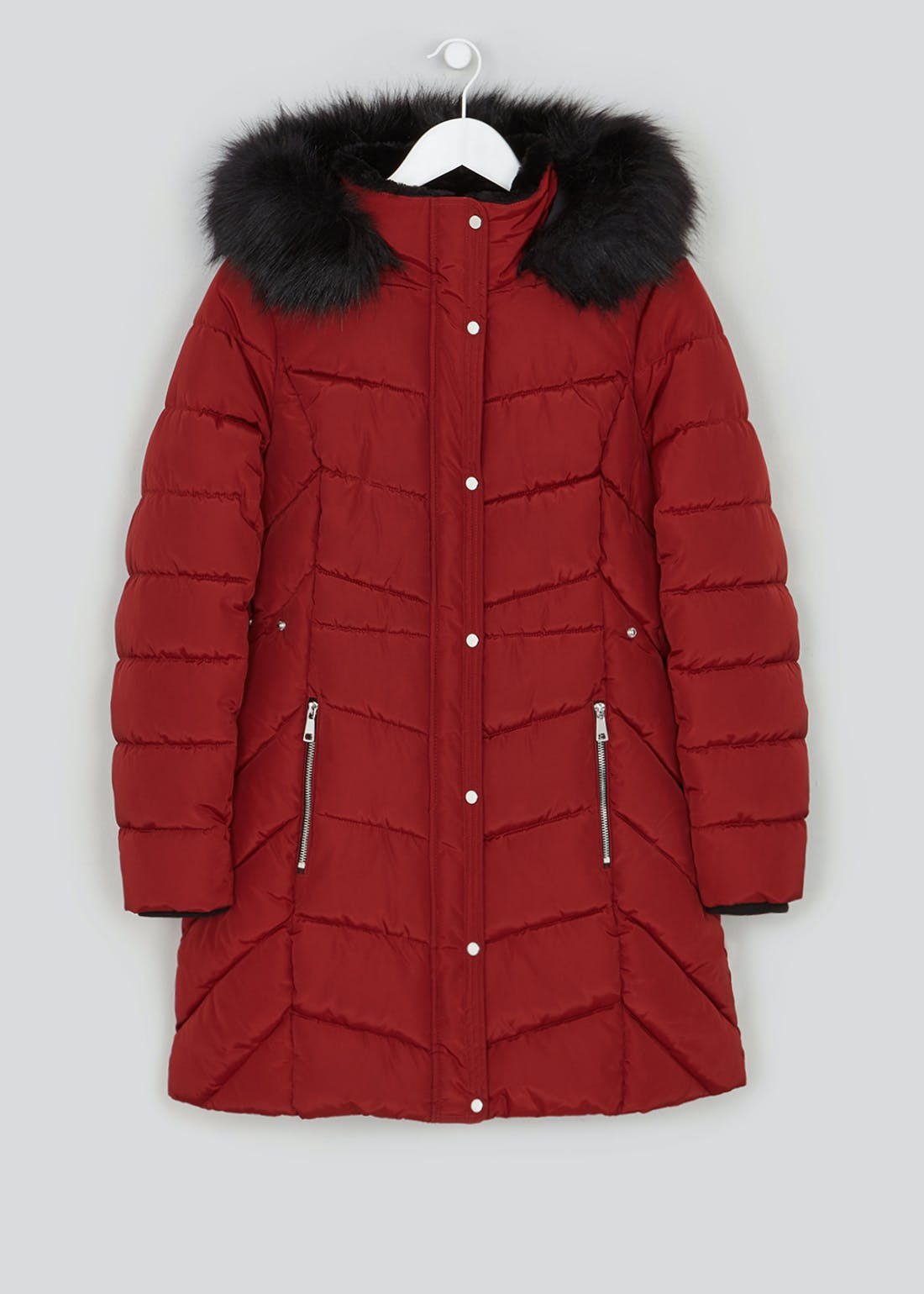 Red Faux Fur Hood Padded Coat
