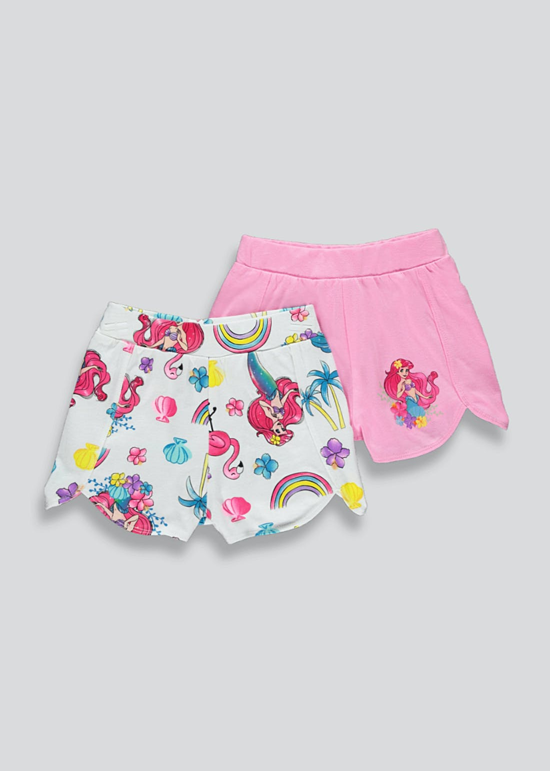 Girls 2 Pack Disney Little Mermaid Shorts (2-9yrs)
