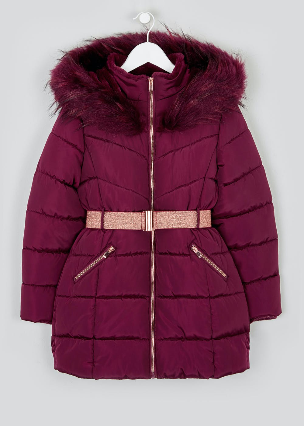 Girls Berry Padded Parka Coat (4-13yrs) – Berry