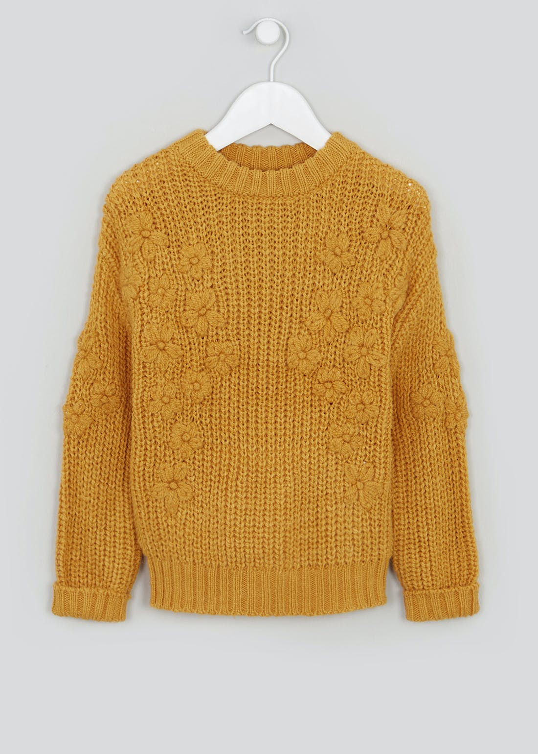 Girls Knitted Flower Jumper (4-13yrs)