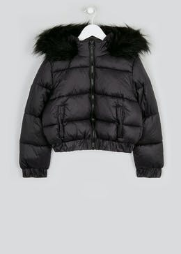 Girls Candy Couture Black Puffer Jacket (9-16yrs)