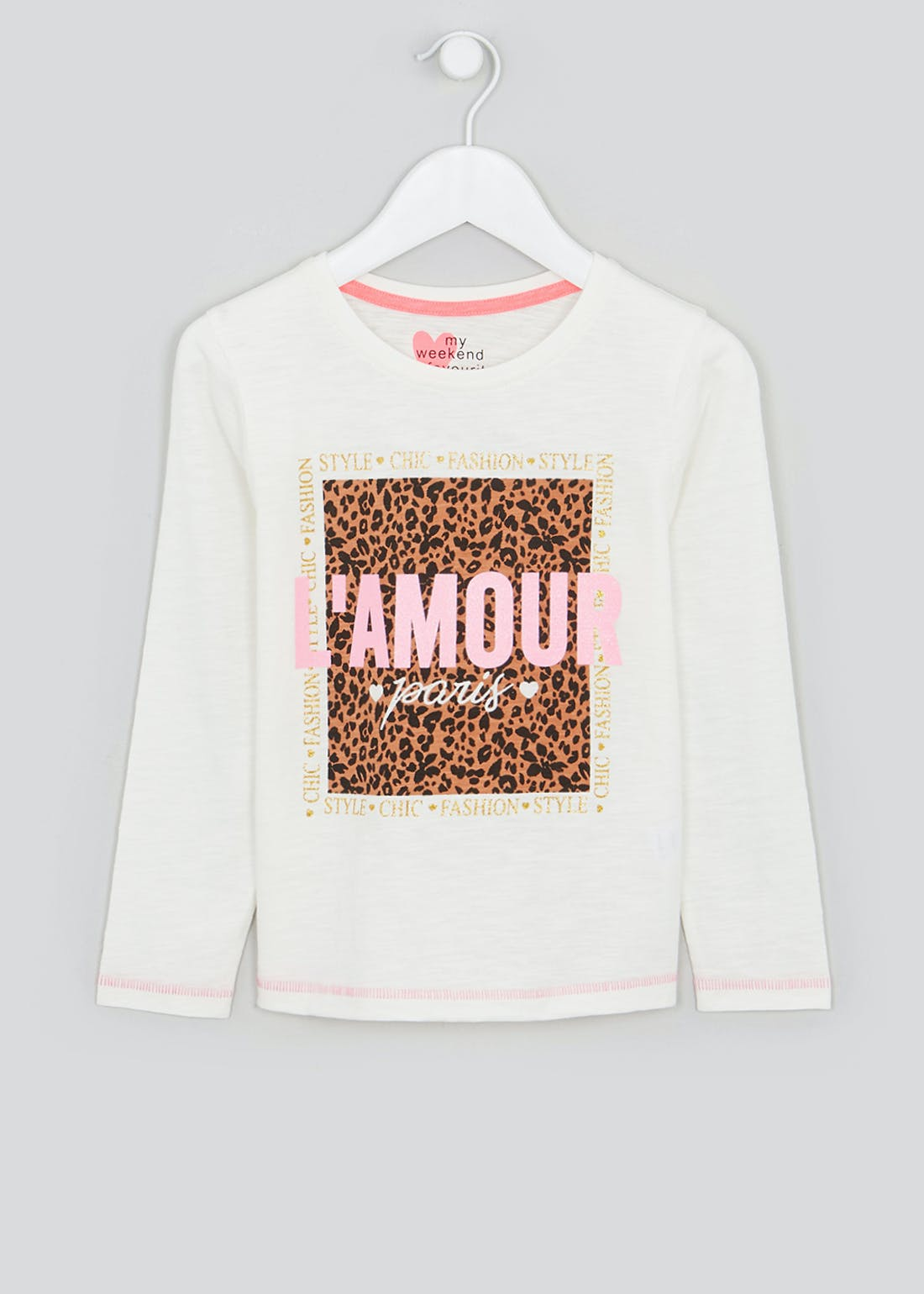 Girls Long Sleeve L'Amour Print T-Shirt (4-13yrs)