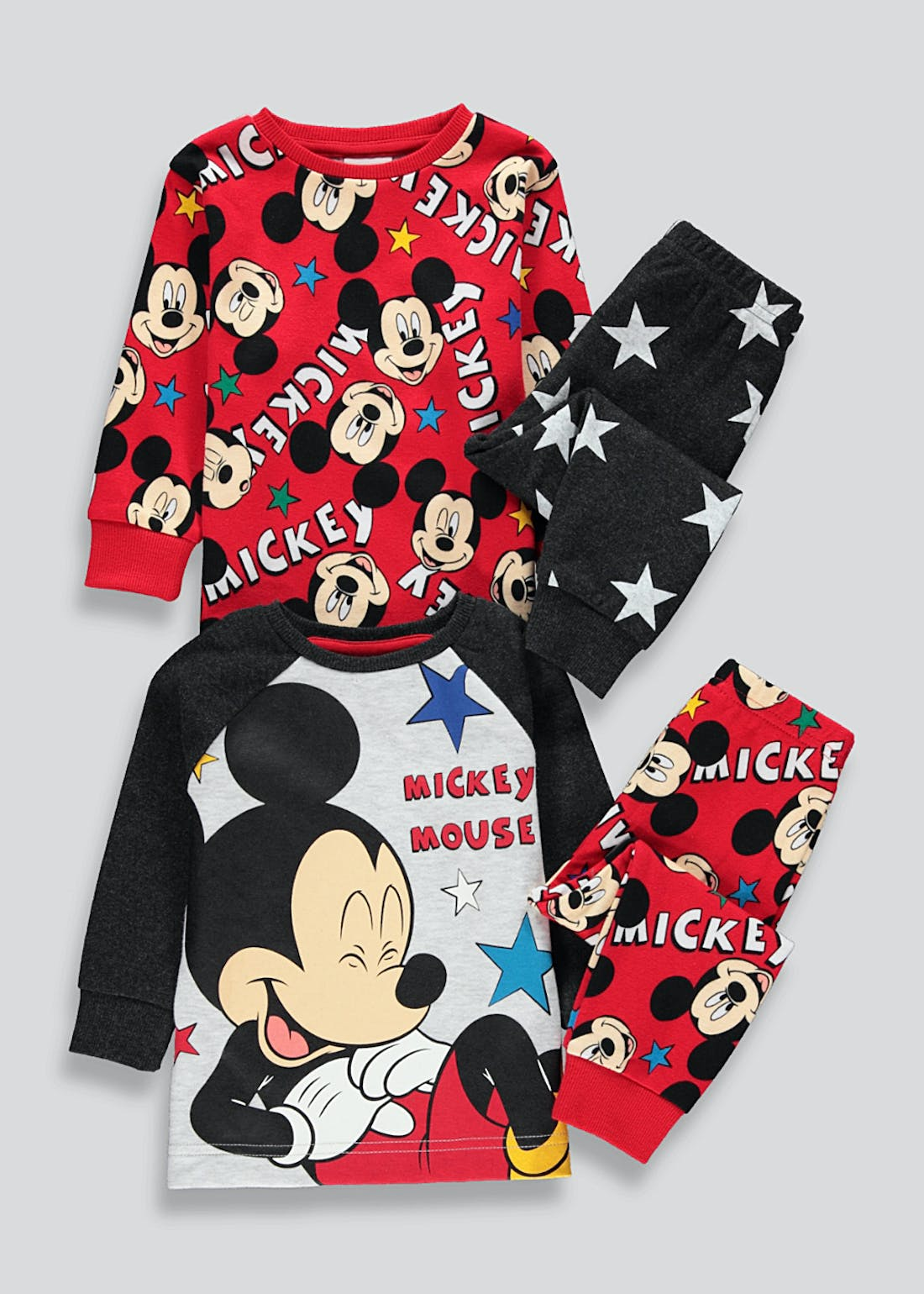 Kids 2 Pack Disney Mickey Mouse Pyjamas (6mths-5yrs)