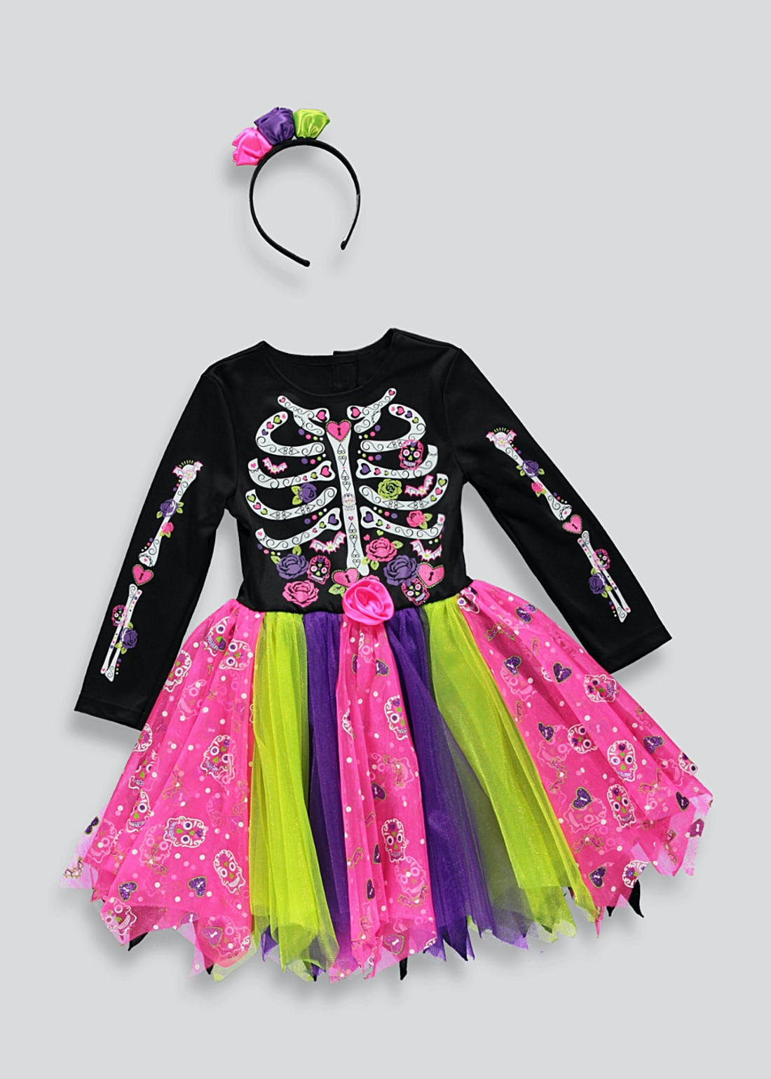 Girls Day of the Dead Halloween Fancy Dress Costume (12mths-11yrs)