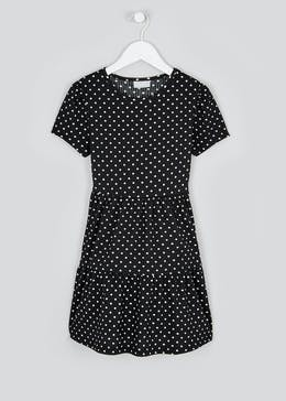 Girls Black Spot Print Crinkle Dress (4-13yrs)