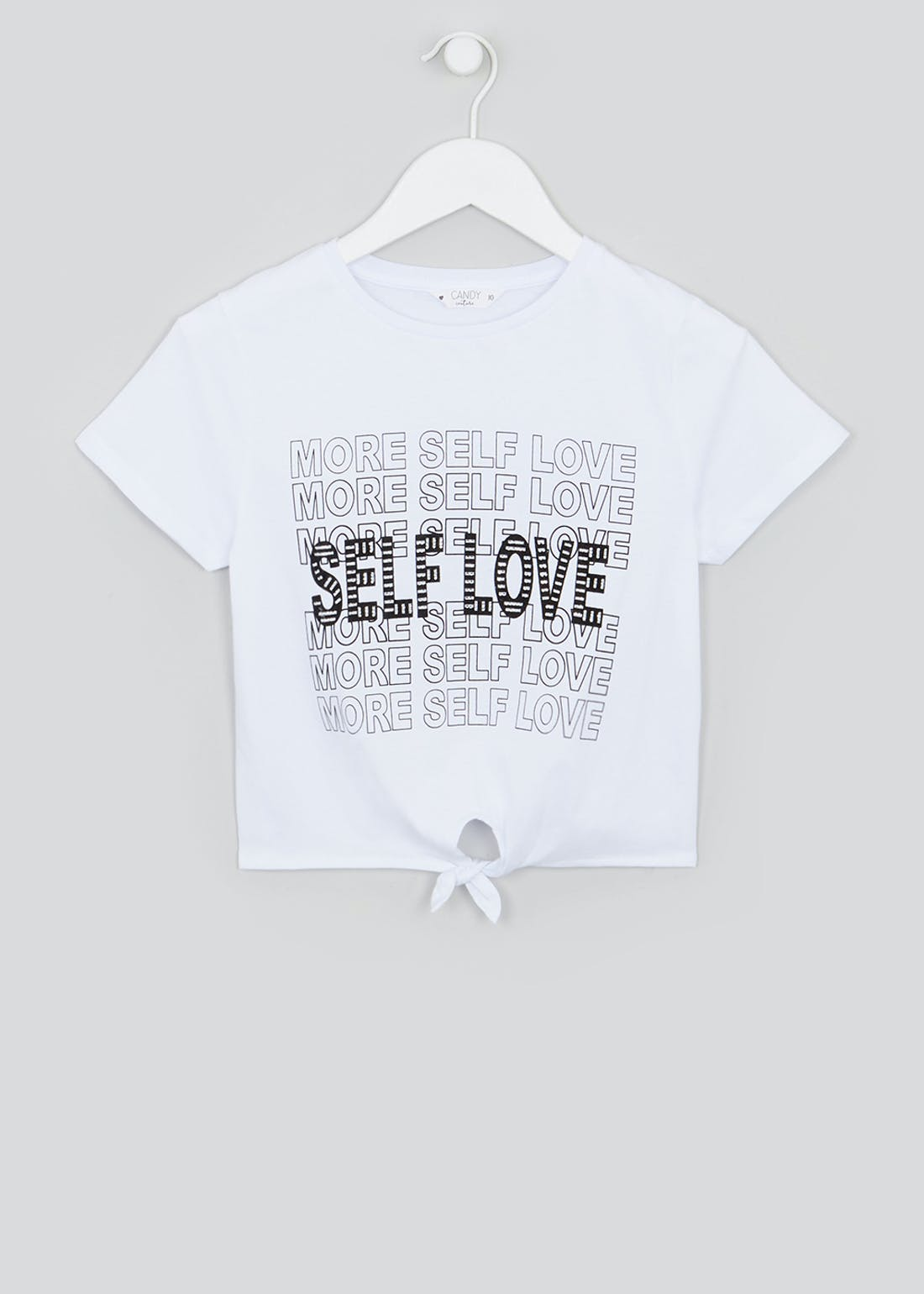 Girls Candy Couture Self Love Cropped Slogan T-Shirt (9-16yrs)