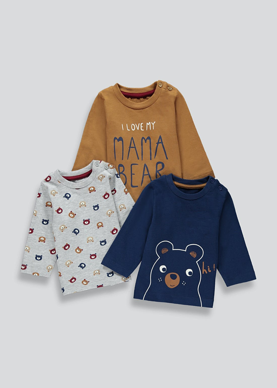 Boys 3 Pack Long Sleeve Bear Print T-Shirts (Newborn-23mths)