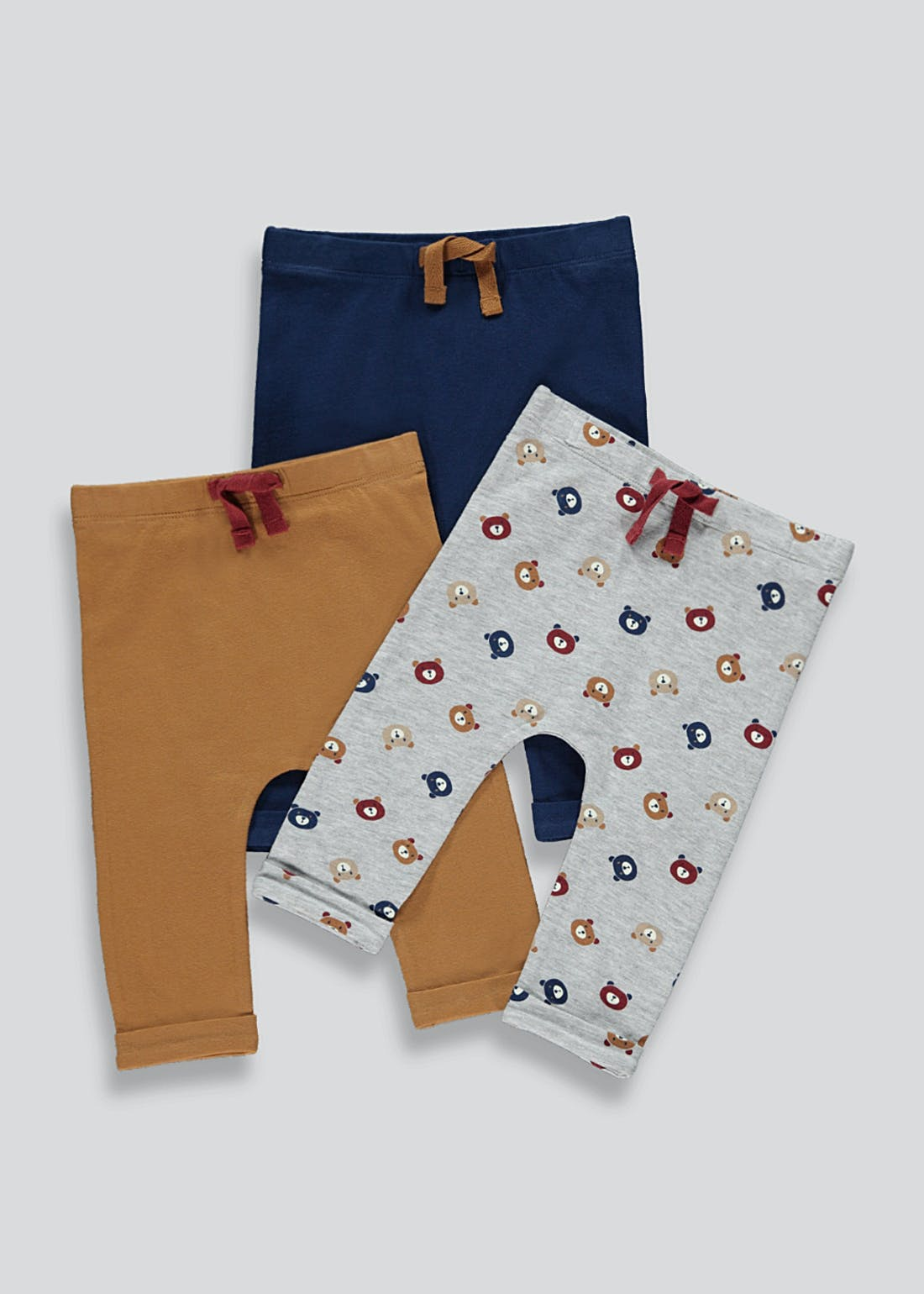 Boys 3 Pack Bear Print Leggings (Tiny Baby-23mths)